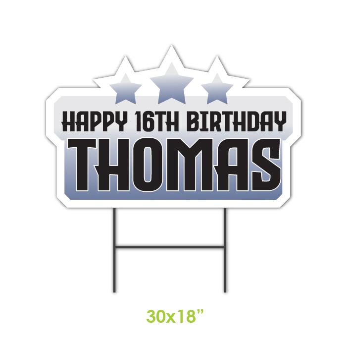 Birthday lawn sign grey